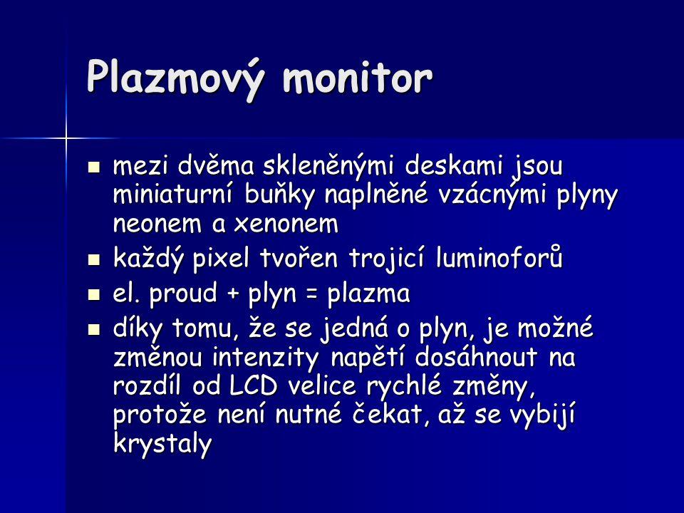Plazmový monitor mezi dvěma skleněnými deskami jsou miniaturní buňky naplněné vzácnými plyny neonem a xenonem.