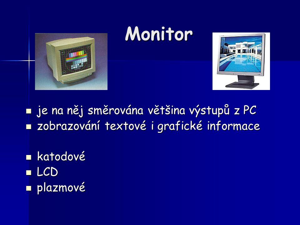 Monitor je na něj směrována většina výstupů z PC