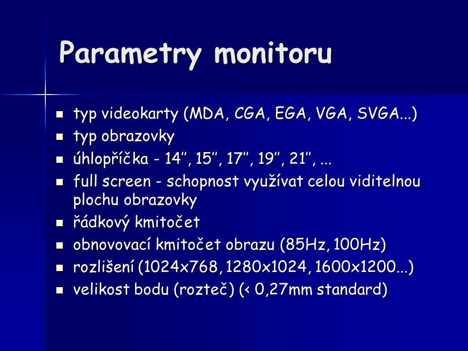 Parametry monitoru typ videokarty (MDA, CGA, EGA, VGA, SVGA...)