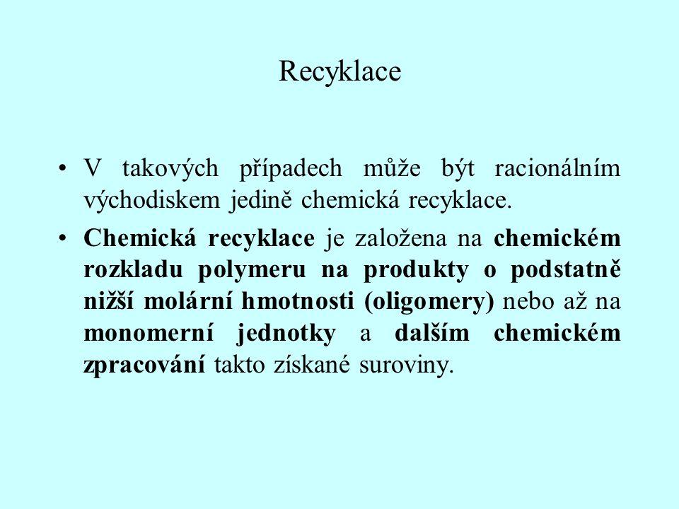 Recyklace V takových případech může být racionálním východiskem jedině chemická recyklace.