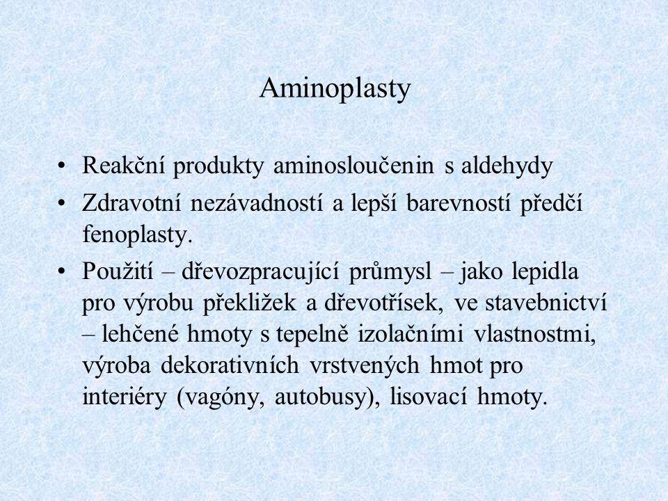Aminoplasty Reakční produkty aminosloučenin s aldehydy