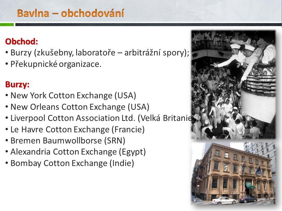 Bavlna – obchodování Obchod:
