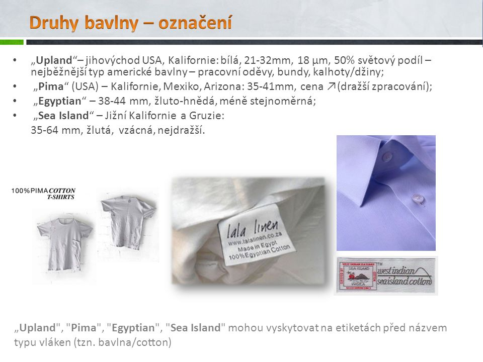 Druhy bavlny – označení