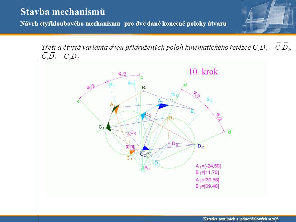 Stavba mechanismů Návrh čtyřkloubového mechanismu pro dvě dané konečné polohy útvaru. _ _.