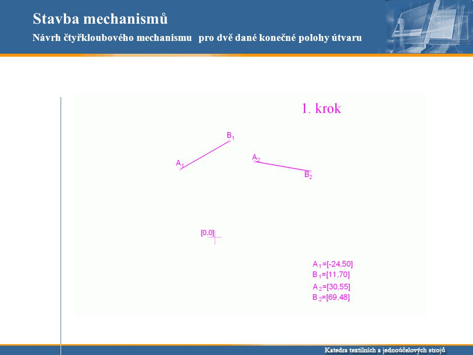 Stavba mechanismů Návrh čtyřkloubového mechanismu pro dvě dané konečné polohy útvaru