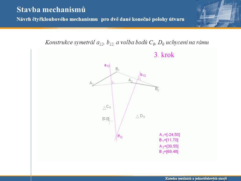 Stavba mechanismů Návrh čtyřkloubového mechanismu pro dvě dané konečné polohy útvaru.