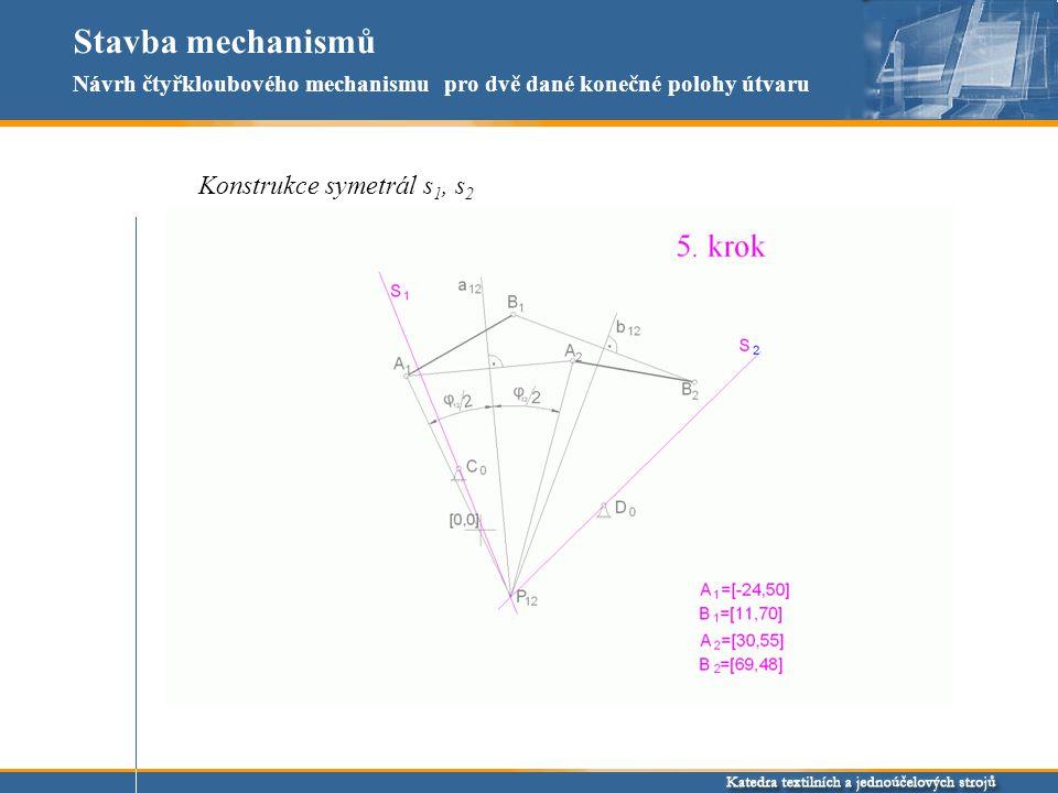 Stavba mechanismů Konstrukce symetrál s1, s2