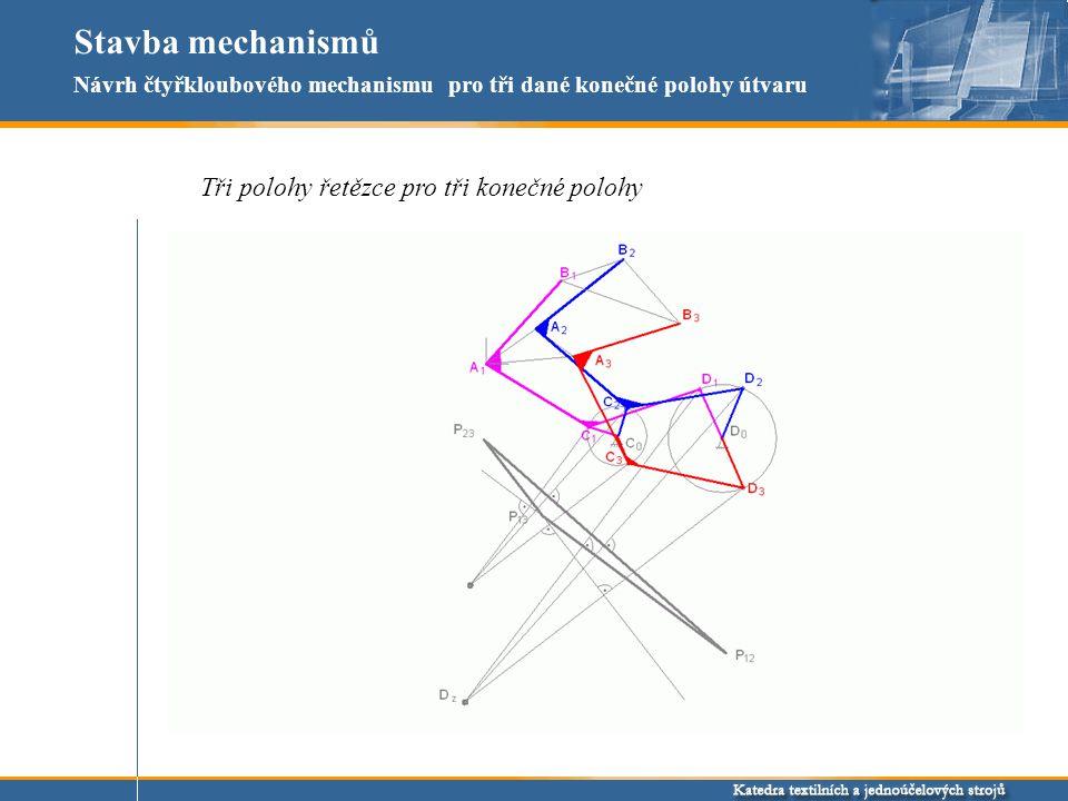 Stavba mechanismů Tři polohy řetězce pro tři konečné polohy