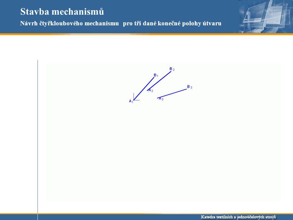 Stavba mechanismů Návrh čtyřkloubového mechanismu pro tři dané konečné polohy útvaru
