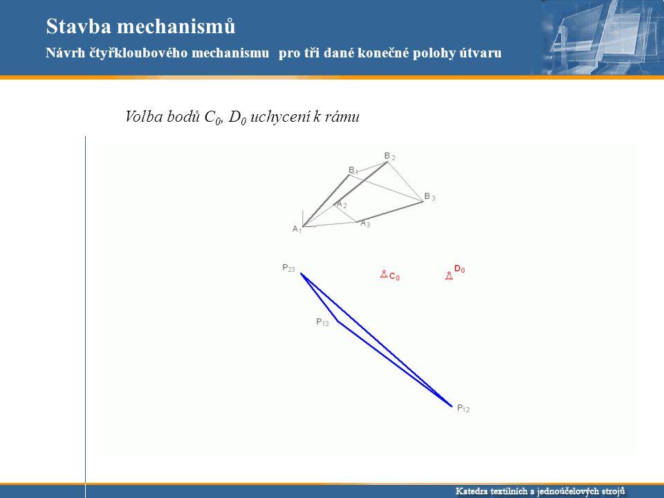 Stavba mechanismů Volba bodů C0, D0 uchycení k rámu