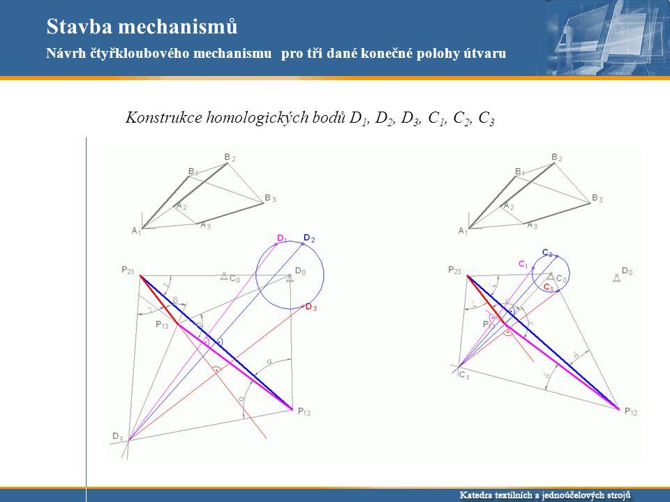 Stavba mechanismů Konstrukce homologických bodů D1, D2, D3, C1, C2, C3