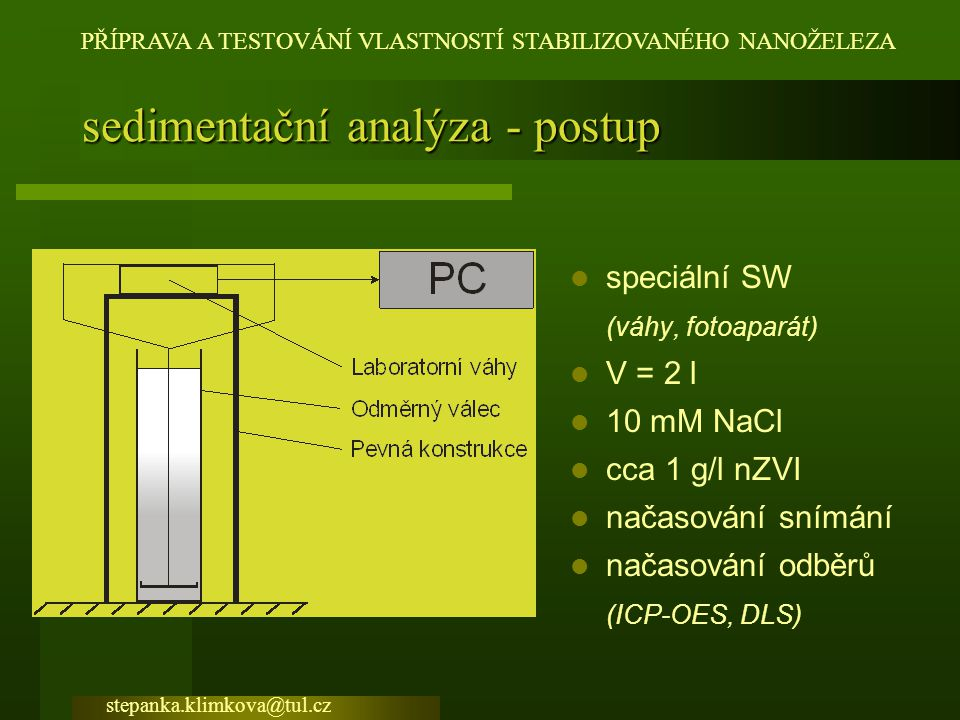 sedimentační analýza - postup