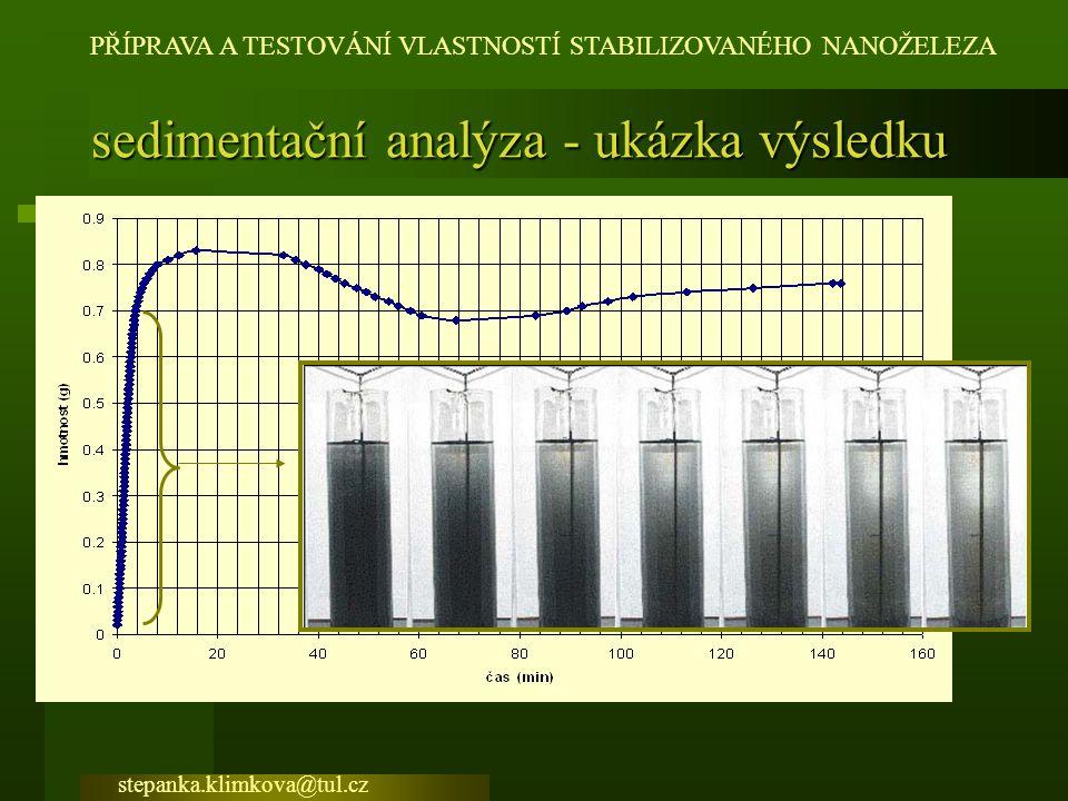 sedimentační analýza - ukázka výsledku
