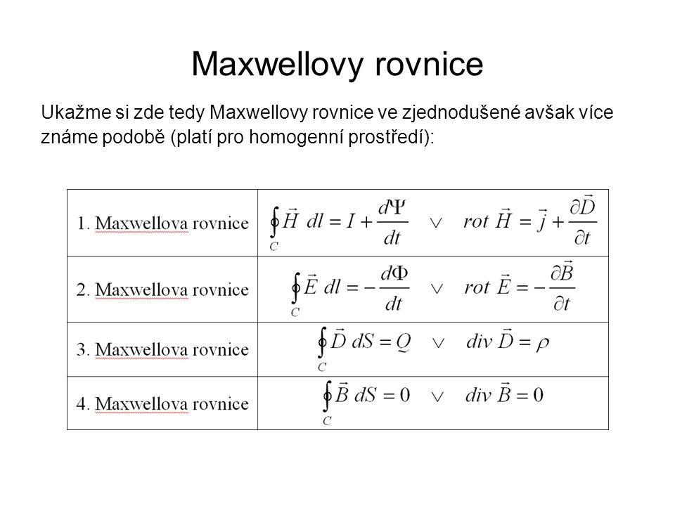 Maxwellovy rovnice Ukažme si zde tedy Maxwellovy rovnice ve zjednodušené avšak více.