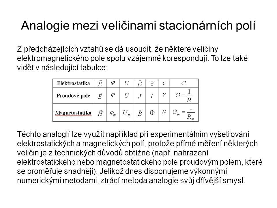 Analogie mezi veličinami stacionárních polí