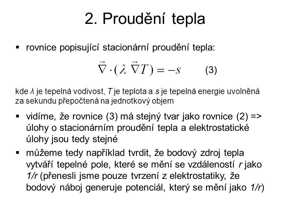 2. Proudění tepla rovnice popisující stacionární proudění tepla: (3)