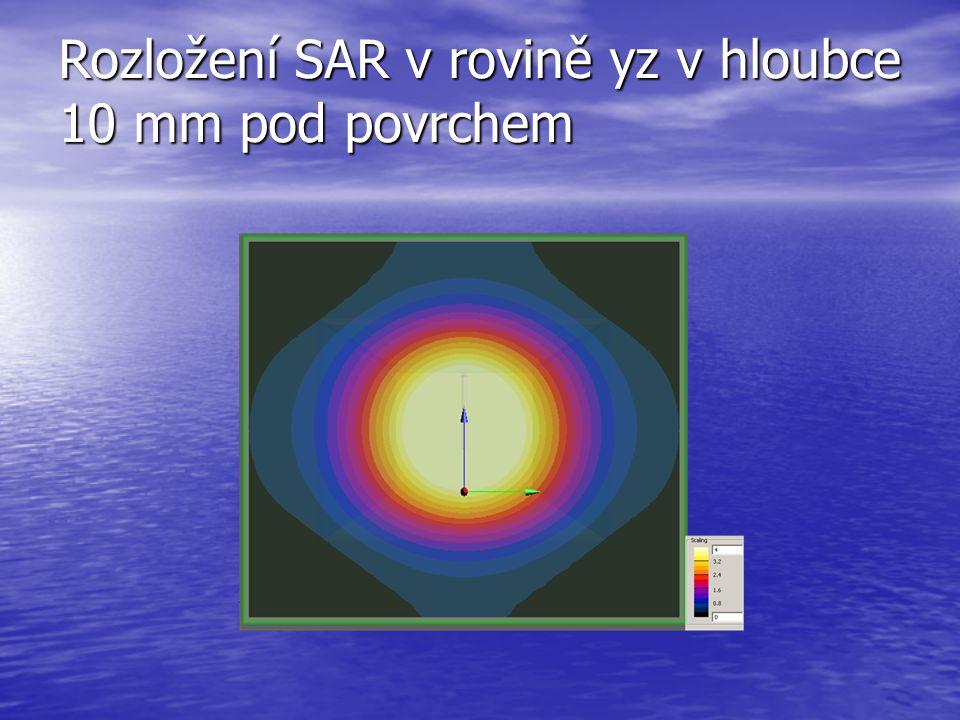 Rozložení SAR v rovině yz v hloubce 10 mm pod povrchem