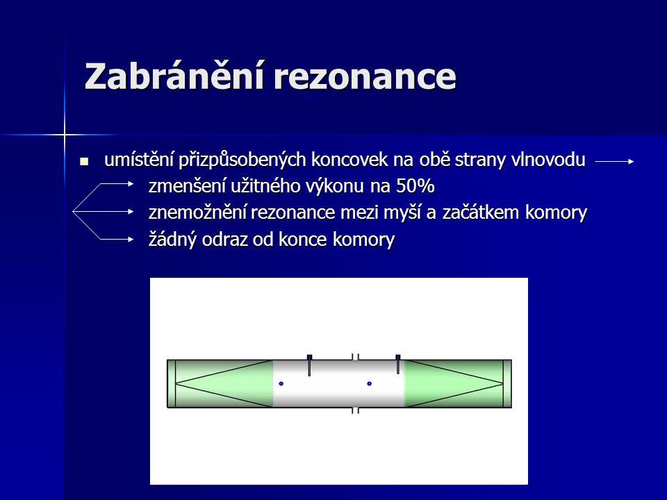 Zabránění rezonance umístění přizpůsobených koncovek na obě strany vlnovodu. zmenšení užitného výkonu na 50%