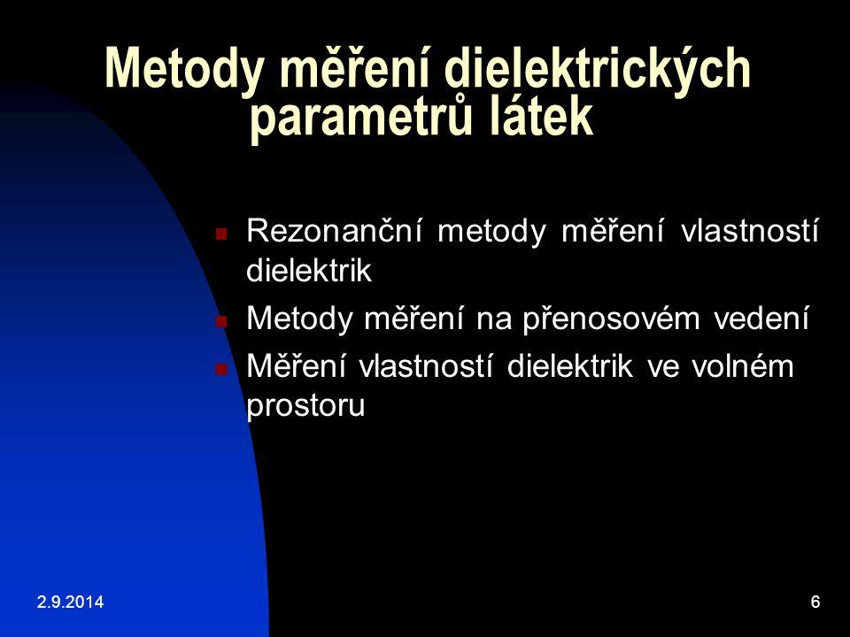 Metody měření dielektrických parametrů látek