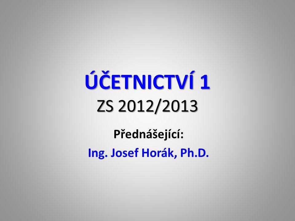Přednášející: Ing. Josef Horák, Ph.D.