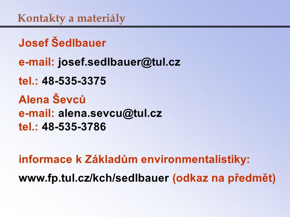 Kontakty a materiály Josef Šedlbauer. e-mail: josef.sedlbauer@tul.cz. tel.: 48-535-3375. Alena Ševců.