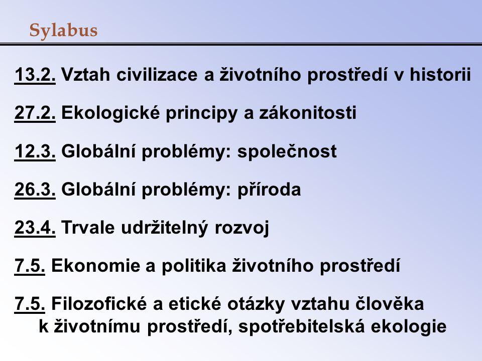 Sylabus 13.2. Vztah civilizace a životního prostředí v historii. 27.2. Ekologické principy a zákonitosti.