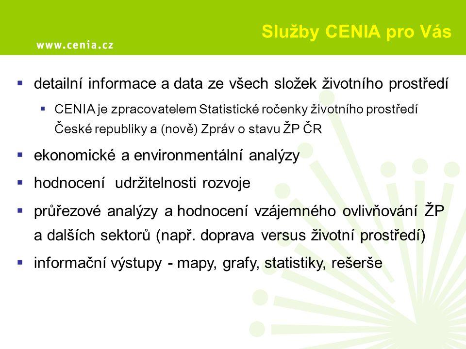 Služby CENIA pro Vás detailní informace a data ze všech složek životního prostředí.
