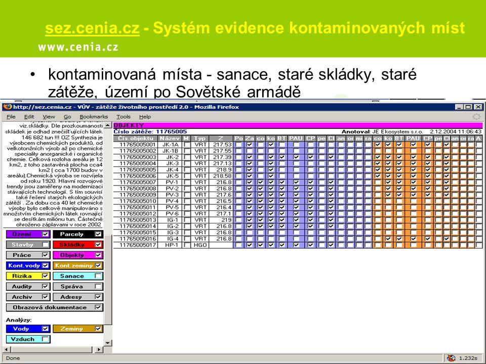 sez.cenia.cz - Systém evidence kontaminovaných míst