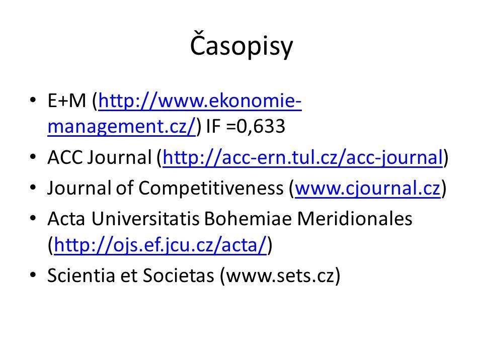 Časopisy E+M (http://www.ekonomie-management.cz/) IF =0,633