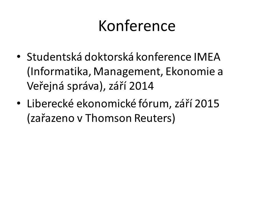 Konference Studentská doktorská konference IMEA (Informatika, Management, Ekonomie a Veřejná správa), září 2014.