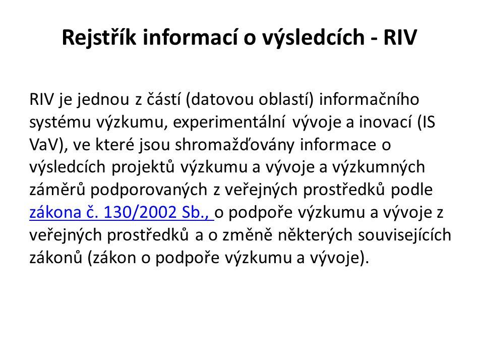 Rejstřík informací o výsledcích - RIV