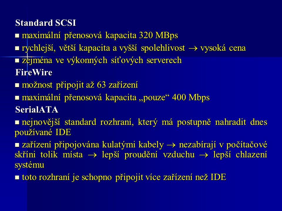 Standard SCSI maximální přenosová kapacita 320 MBps. rychlejší, větší kapacita a vyšší spolehlivost  vysoká cena.