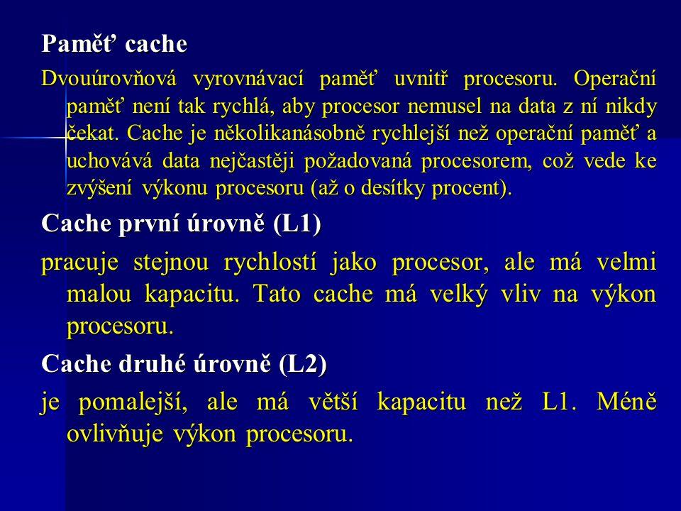 Paměť cache Cache první úrovně (L1)
