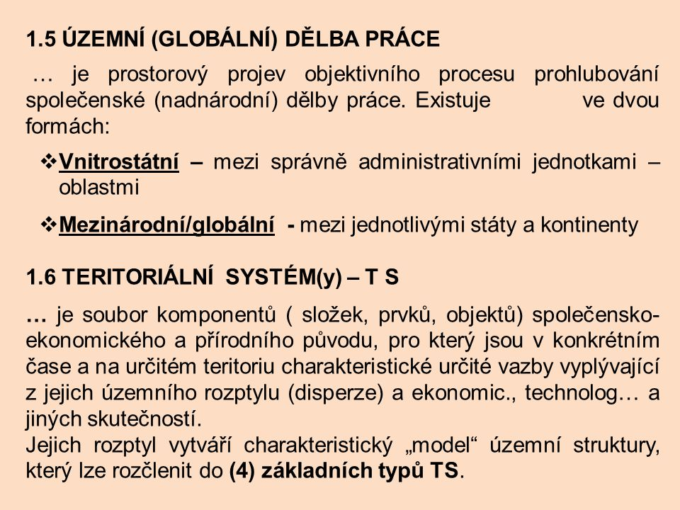 1.5 Územní (globální) dělba práce