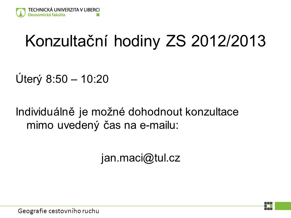 Konzultační hodiny ZS 2012/2013