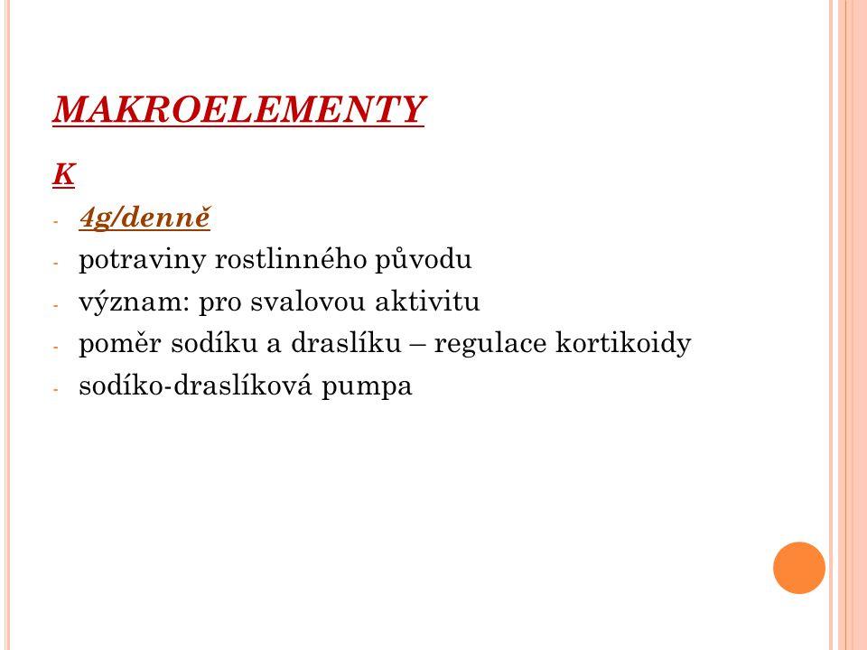 MAKROELEMENTY K 4g/denně potraviny rostlinného původu