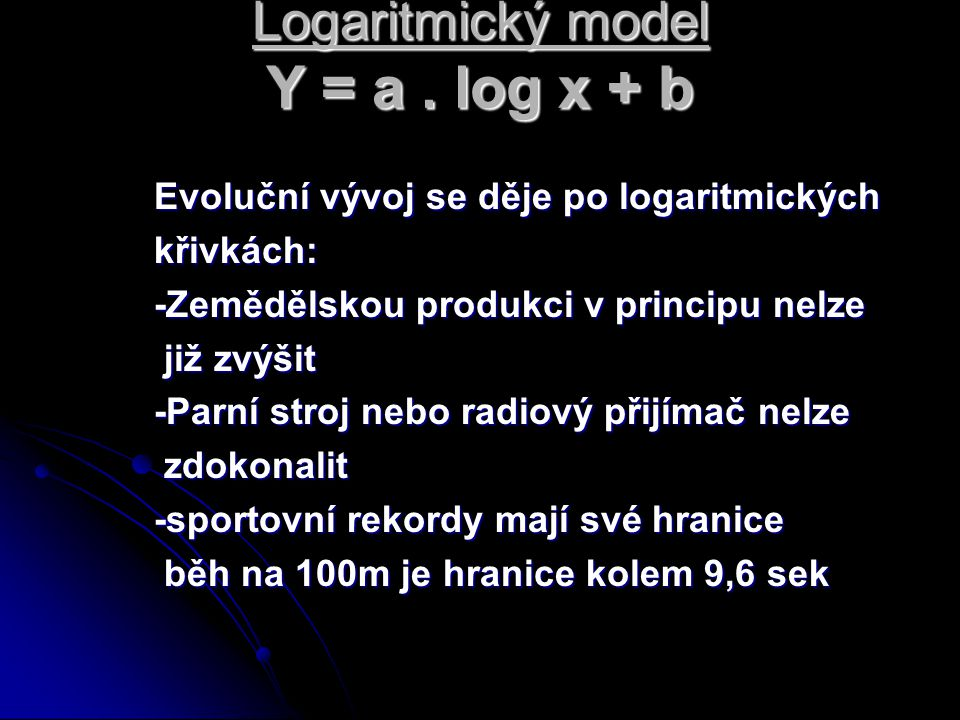 Logaritmický model Y = a . log x + b