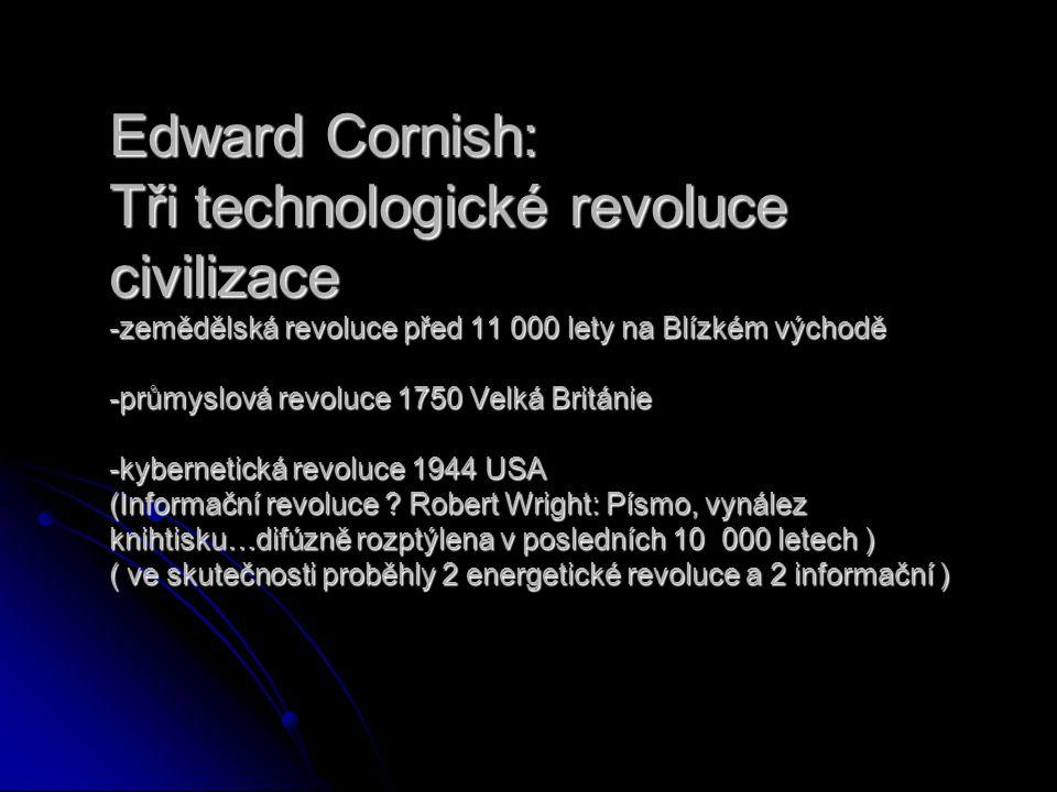 Edward Cornish: Tři technologické revoluce civilizace -zemědělská revoluce před 11 000 lety na Blízkém východě -průmyslová revoluce 1750 Velká Británie -kybernetická revoluce 1944 USA (Informační revoluce .