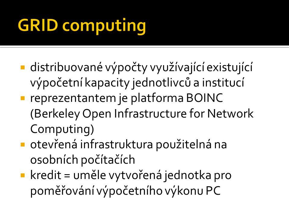 GRID computing distribuované výpočty využívající existující výpočetní kapacity jednotlivců a institucí.