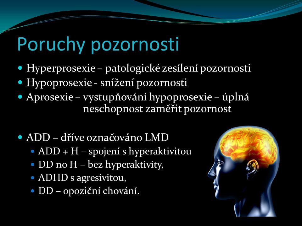 Poruchy pozornosti Hyperprosexie – patologické zesílení pozornosti