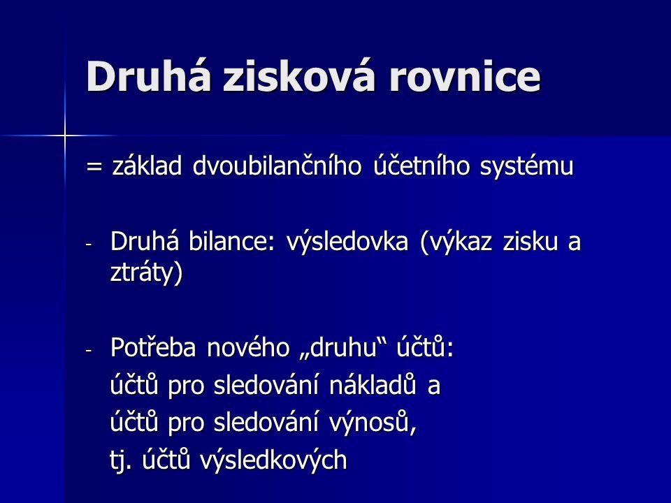 Druhá zisková rovnice = základ dvoubilančního účetního systému