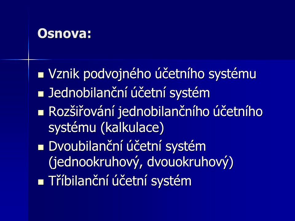 Osnova: Vznik podvojného účetního systému. Jednobilanční účetní systém. Rozšiřování jednobilančního účetního systému (kalkulace)