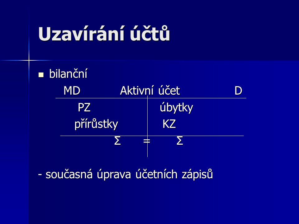 Uzavírání účtů bilanční MD Aktivní účet D PZ úbytky přírůstky KZ Σ = Σ