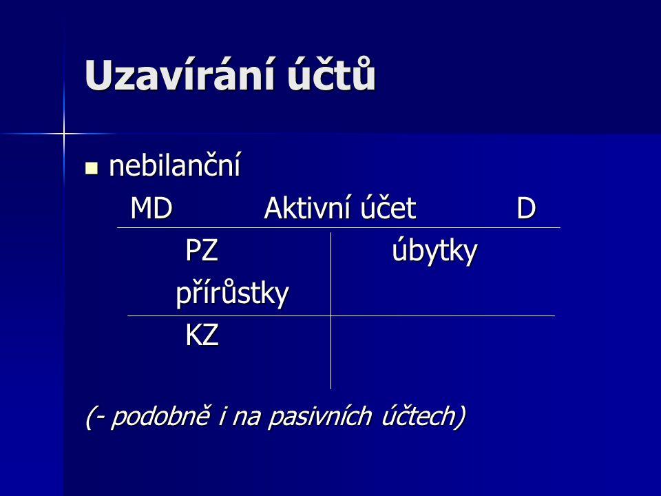 Uzavírání účtů nebilanční MD Aktivní účet D PZ úbytky přírůstky KZ