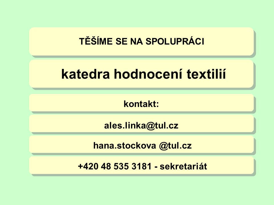 katedra hodnocení textilií