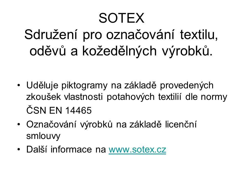 SOTEX Sdružení pro označování textilu, oděvů a kožedělných výrobků.