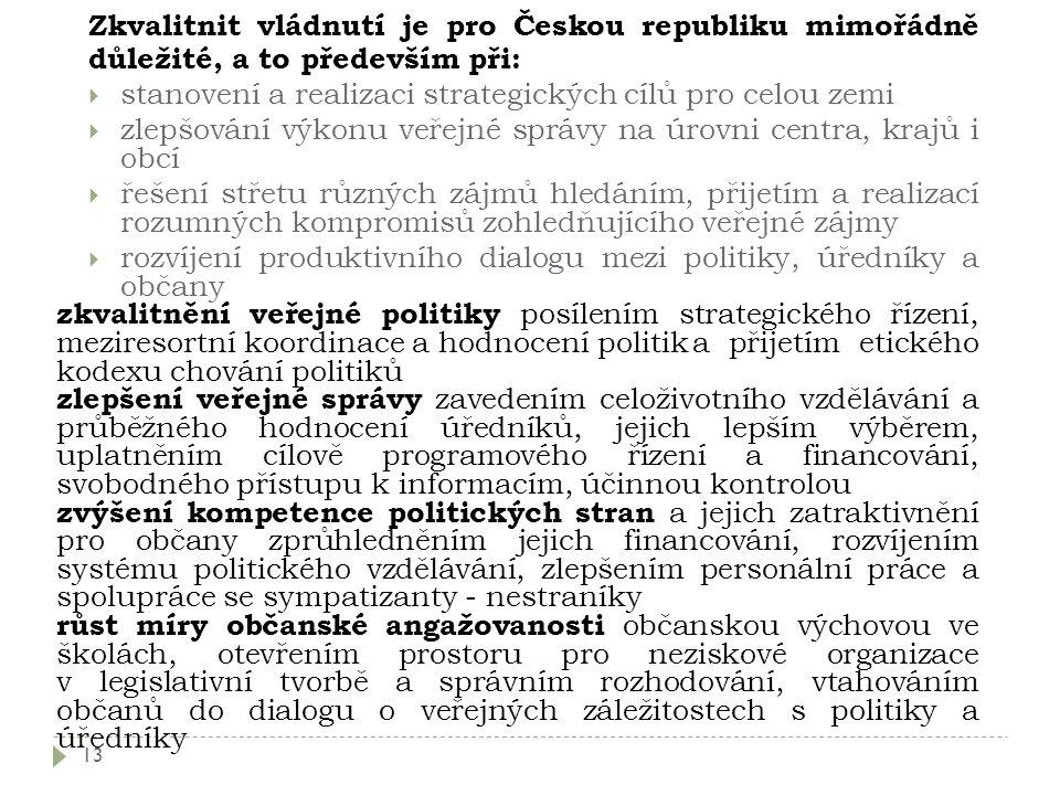 Zkvalitnit vládnutí je pro Českou republiku mimořádně důležité, a to především při: