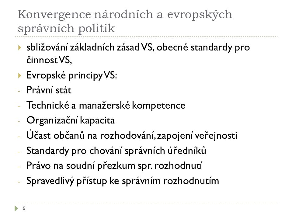 Konvergence národních a evropských správních politik