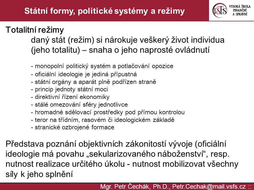 Státní formy, politické systémy a režimy
