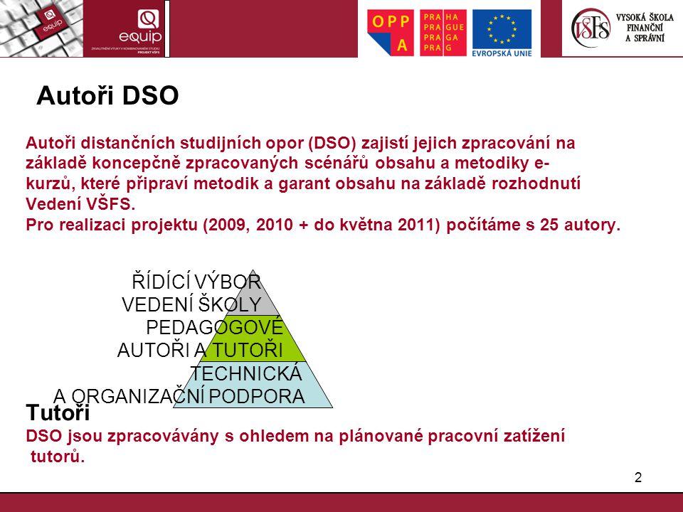 Autoři DSO Autoři distančních studijních opor (DSO) zajistí jejich zpracování na. základě koncepčně zpracovaných scénářů obsahu a metodiky e-